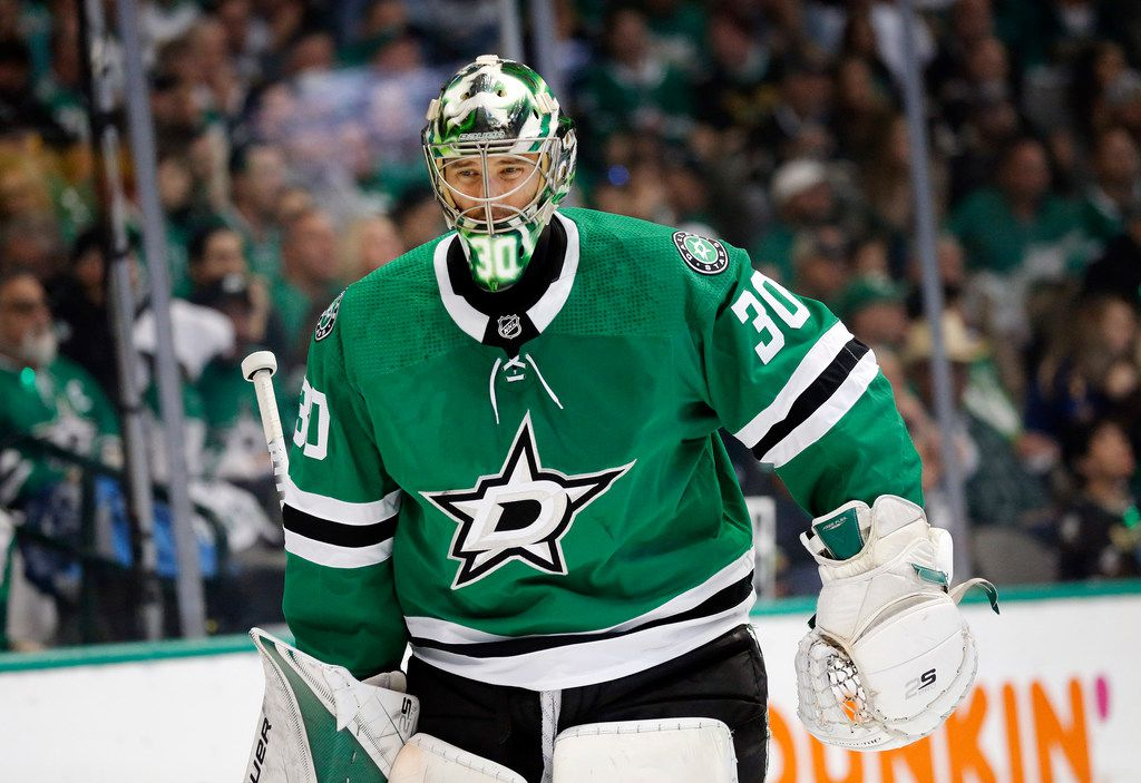 Dallas Stars goaltender Ben Bishop (30) skates around the rink during a second period timeout against the St. Louis Blues at the American Airlines Center in Dallas, Sunday, May 5, 2019. The teams were playing Western Conference Second Round Game 6 of the 2019 NHL Stanley Cup Playoffs. (Tom Fox/The Dallas Morning News)