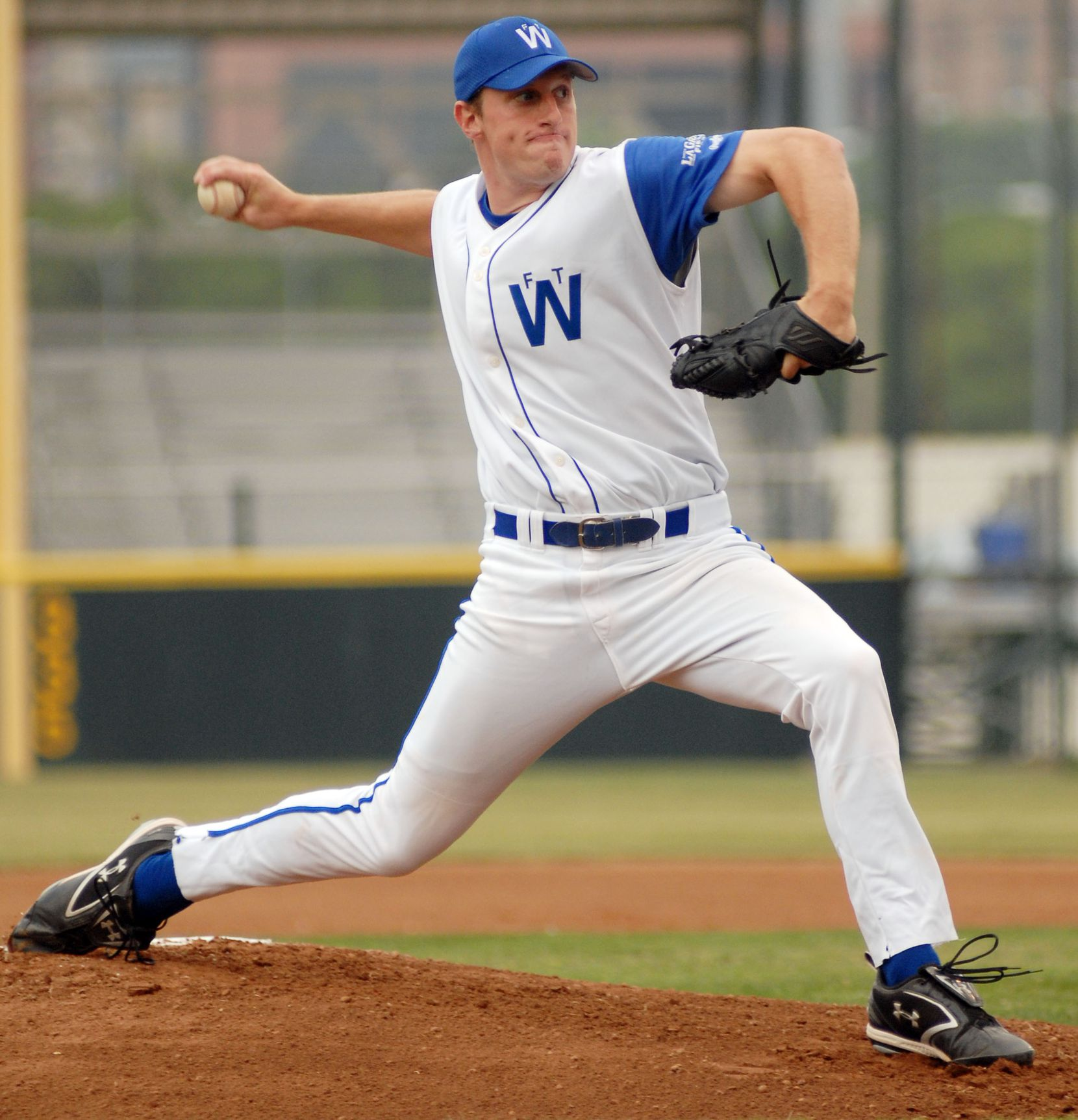 FILE - Max Scherzer pitches for the Fort Worth Cats on May 18, 2007, at LaGrave Field in Fort Worth.