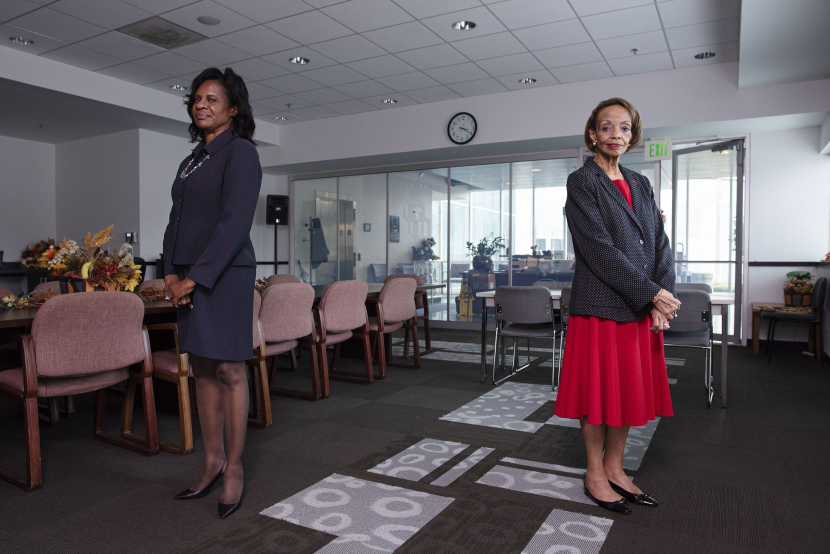 Head Start of Greater Dallas board president Laura Cobb Hayes (left) and chief executive officer Kathryn McCartney at Head Start's headquarters in southern Dallas on Sept. 21, 2020. Hayes is the first Black female president elected to the board.