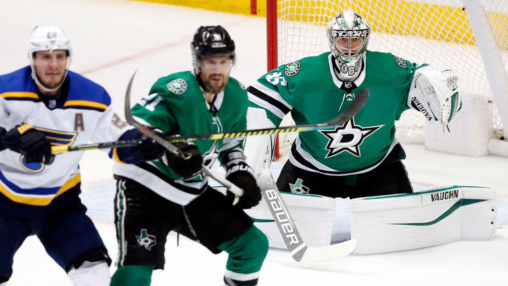 Dallas Stars goaltender Anton Khudobin (35) during the third period at the American Airlines Center in Dallas, Sunday, May 5, 2019. The teams were playing Western Conference Second Round Game 6 of the 2019 NHL Stanley Cup Playoffs.