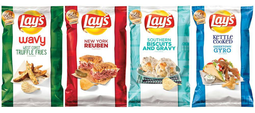 The four new flavors: truffle fries, New York Reuben, biscuits and gravy, and gyro.