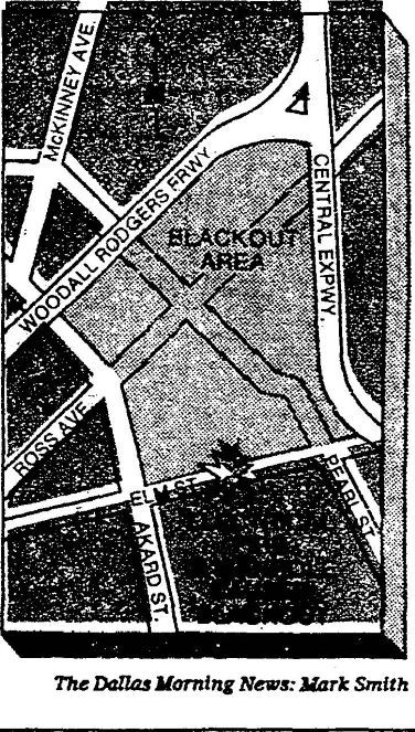 A map of the affected area in downtown Dallas with a symbol for where the fire occurred.  Published in The Dallas Morning News on July 7, 1981.