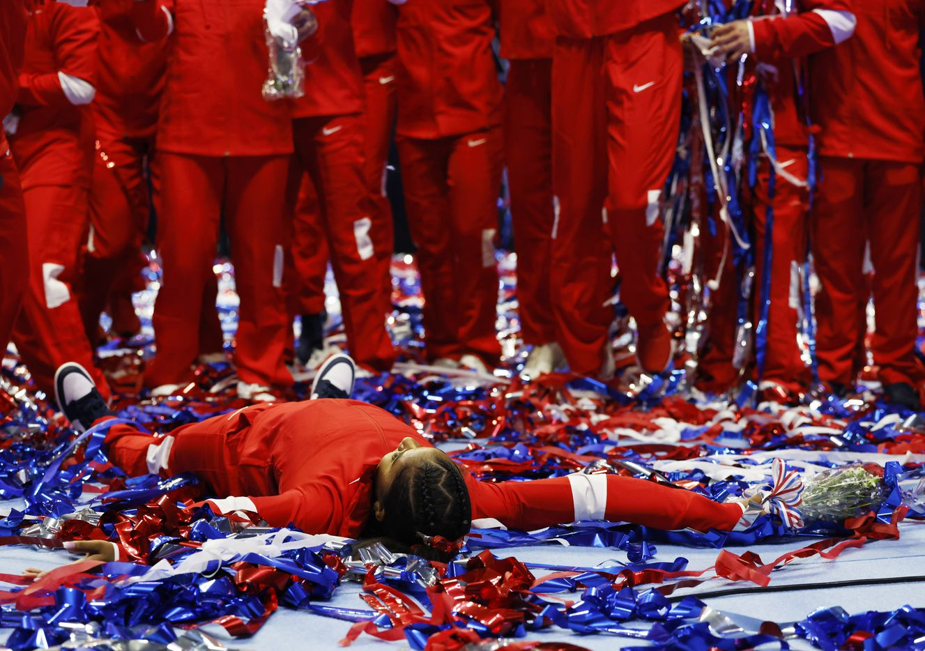 Jordan Chiles celebrates in the streamers after the women's U.S. Olympic gymnastics team was announced during day 2 of the women's 2021 U.S. Olympic Trials at The Dome at America's Center on Sunday, June 27, 2021 in St Louis, Missouri.(Vernon Bryant/The Dallas Morning News)