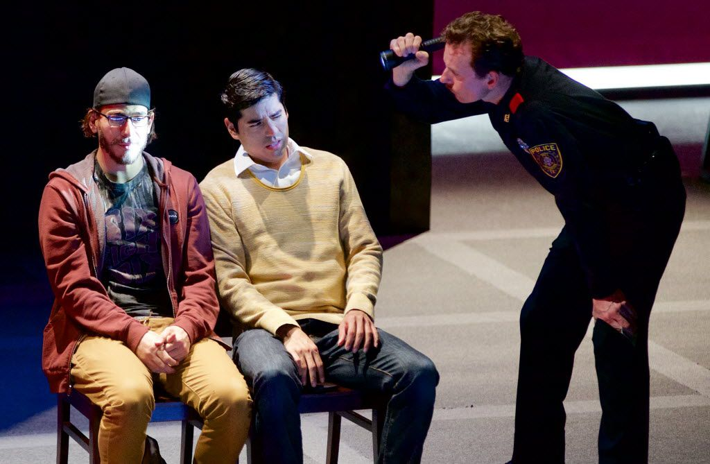 "From left: Arturo Soria, Ivan Jasso and Chamblee Ferguson in ""Deferred Action,"" a co-production of Dallas Theater Center and Cara Mia Theatre Co., a project funded by TACA's New Works Fund. (Brandon Wade/Special Contributor)"