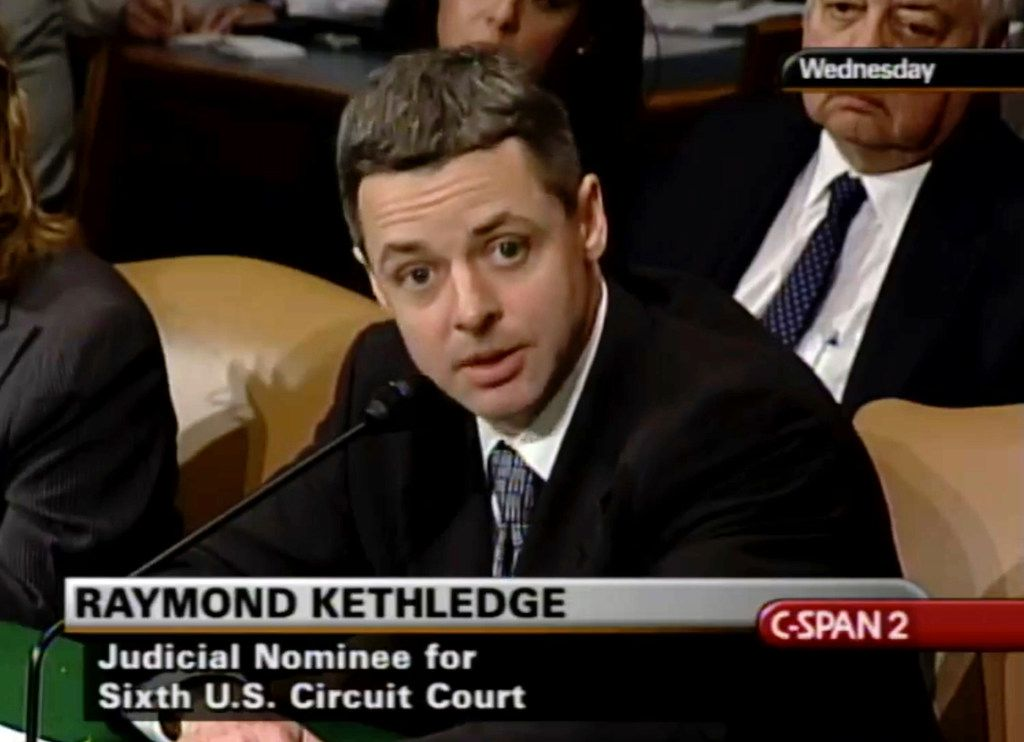 Raymond Kethledge testifies during his confirmation hearing for the Sixth U.S. Circuit Court of Appeals on May 7, 2008.
