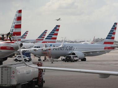 A grounded American Airlines Boeing 737 Max 8 is seen parked at Miami International Airport on March 14.