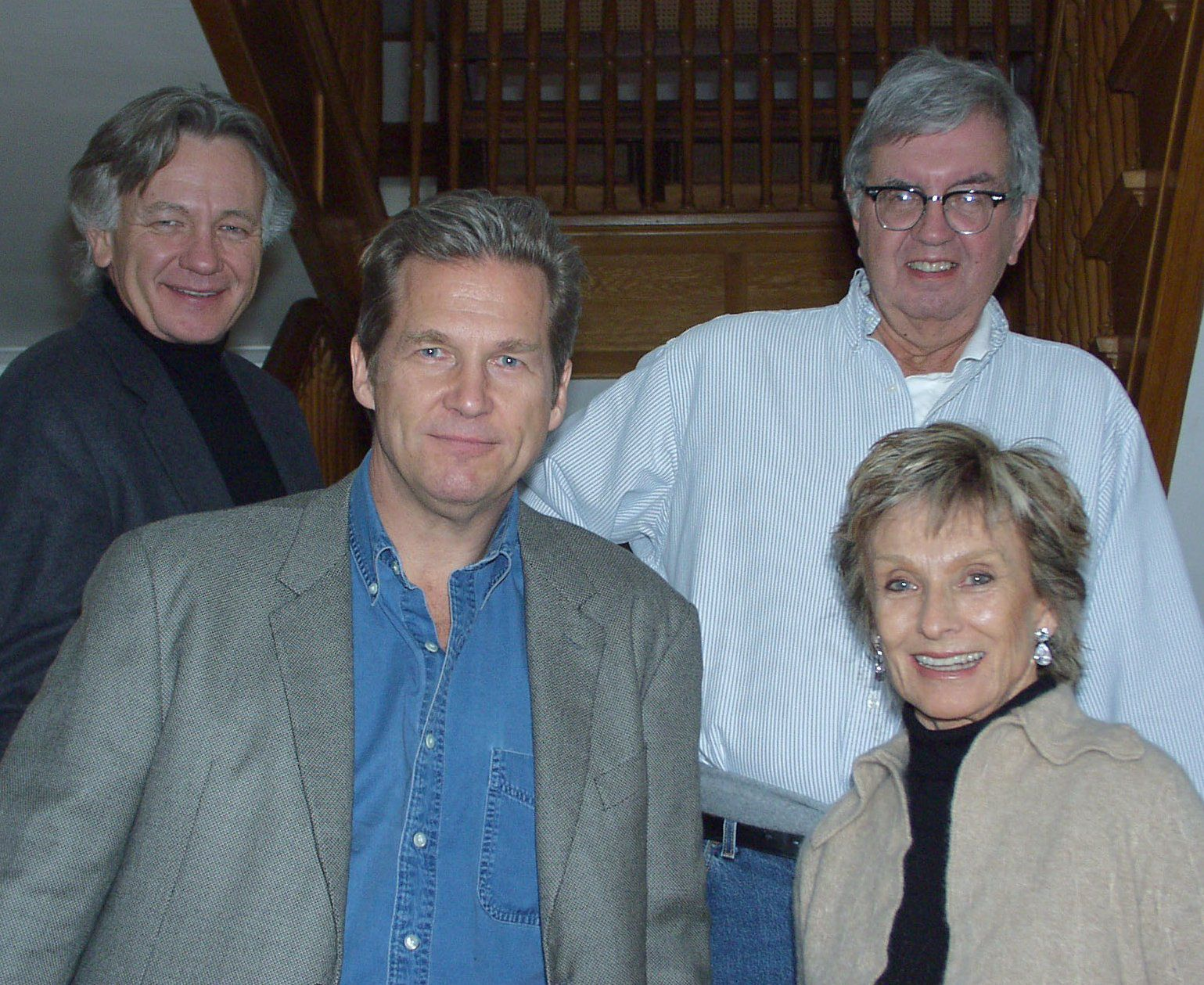 "Actors Jeff Bridges, front left, Cloris Leachman, front right, stand with Loyd Catlett and Larry McMurtry, rear right, author of ""The Last Picture Show"" at McMurtry's home in Archer City Texas, Saturday, April 6, 2002."