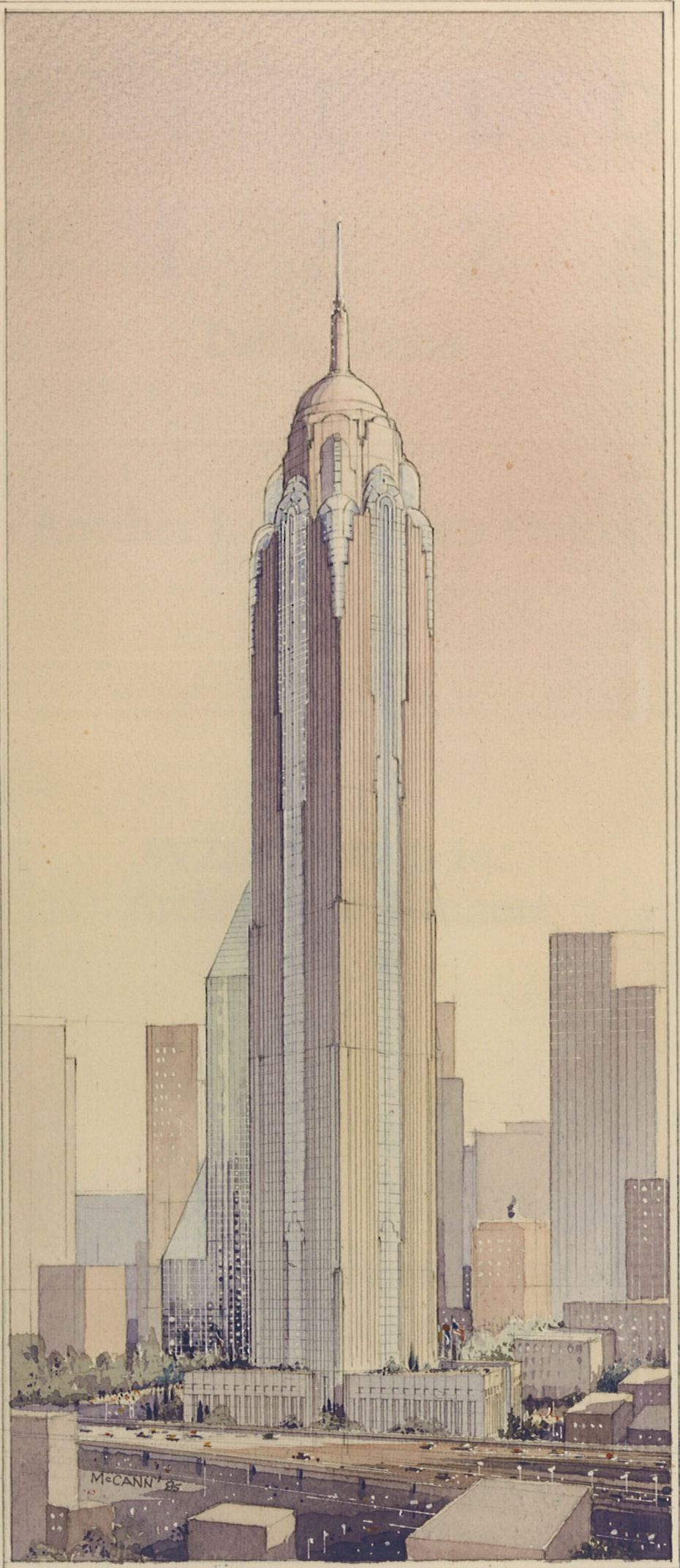 A 100-story tower proposed for Dallas in the 1980s