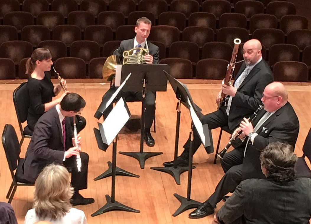 """Dallas Symphony Orchestra musicians David Buck (flute), Erin Hannigan (oboe), David Cooper (horn), Ted Soluri (bassoon) and Gregory Raden (clarinet) perform a wind quintet arrangement of the Overture to Mozart's The Magic Flute in """"A Musician's View"""" concert April 8, 2019 at the Meyerson Symphony Center in Dallas. The concert was part of the DSO's 2019 Soluna International Music and Arts Festival. (Scott Cantrell/Special Contributor)"""