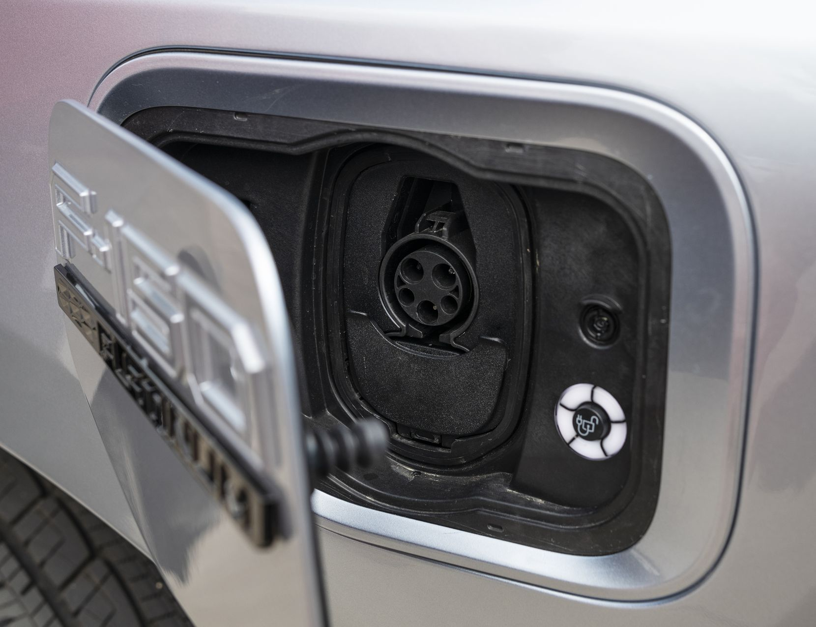 The charging plugin for the new electric Ford F-150 Lightning truck.
