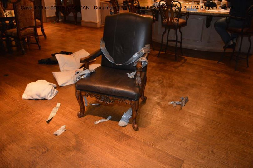 This photo admitted into evidence at trial shows the chair where popular radio personality Russ Martin was held while masked men searched his Frisco home for valuables in December 2015.