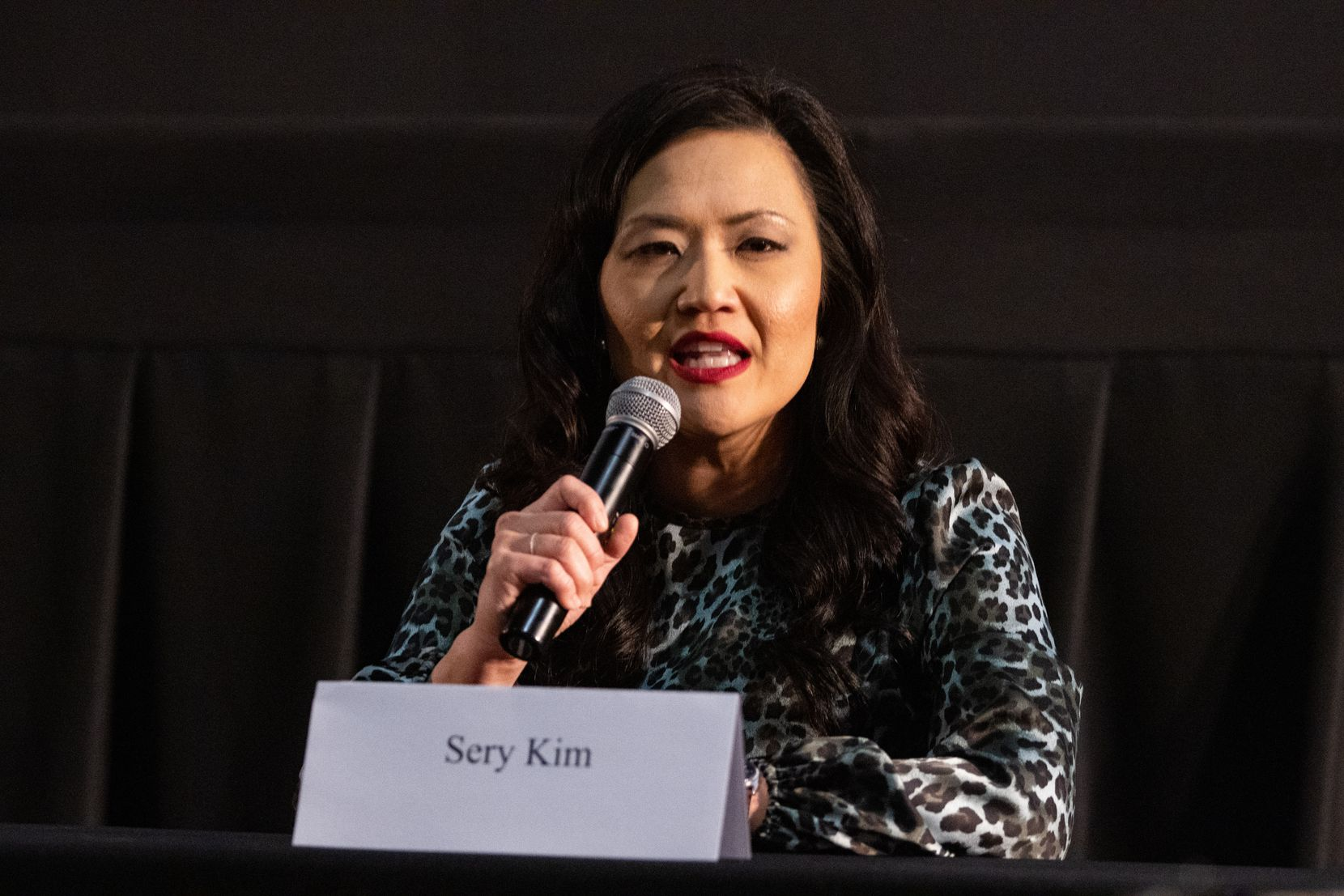 Sery Kim, a Republican candidate running in the 6th Congressional District of Texas race, answers questions during a forum hosted by the Arlington Republican Club at Studio Movie Grill in Arlington on Wednesday, March 31, 2021. (Juan Figueroa/ The Dallas Morning News)