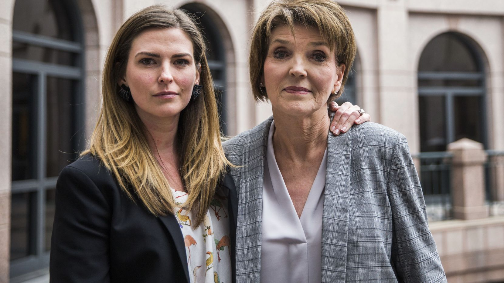 Eve Wiley (left) and her mother, Margo Williams, testified  before the Senate Criminal Justice Committee on Wednesday ,at the Texas  Capitol extension in Austin. Wiley was conceived through artificial insemination. Through genetic testing in 2018, she discovered that the sperm donor her mother chose was not her father. Rather, she says the doctor who performed the artificial insemination procedure is her father. They and state Sen. Joan Huffman are trying to pass SB 1259, which would make it a state jail felony for a health care provider to implant human reproductive material from an unauthorized source without consent of the patient.