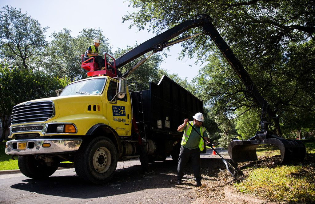 Juan Salamanca (left) and Albert Tims of Looks Good Services, which contracts with the city of Dallas, collect debris left behind from recent storms on Friday, June 21, 2019, on Cliffbrook Drive in Far North Dallas.