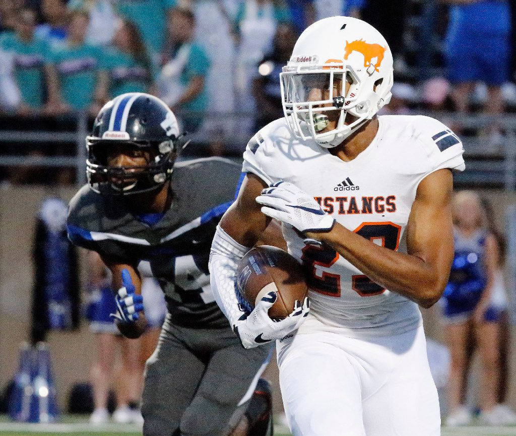 Sachse High School free safety Isaiah Humphries (23) returns a punt during the first half as Plano West High School hosted Sachse High School at John Clark Stadium in Plano on Friday night, September 8, 2017. (Stewart F. House/Special Contributor)