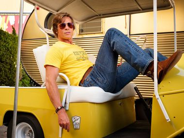 "This image released by Sony Pictures shows Brad Pitt in Quentin Tarantino's ""Once Upon a Time in Hollywood."""