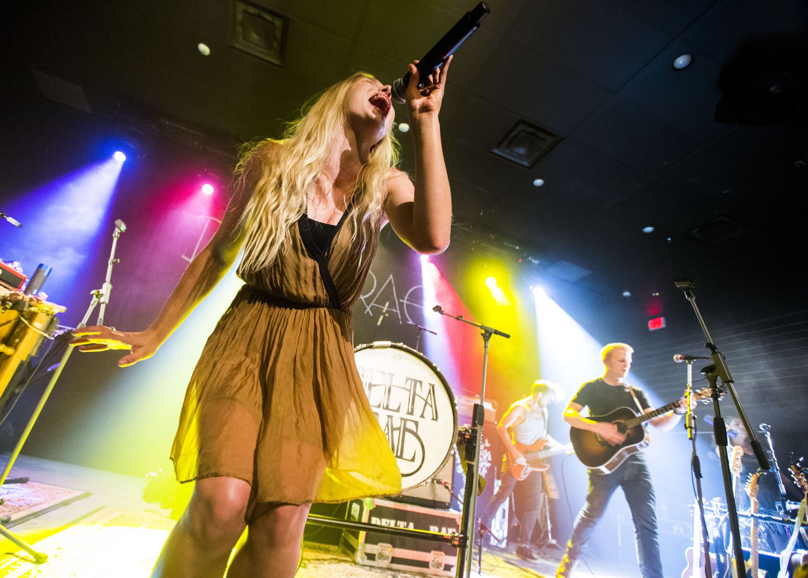 Vocalist Brittany Holljes of Delta Rae performs on Thursday, July 16, 2015 at Kessler Theater in Dallas.
