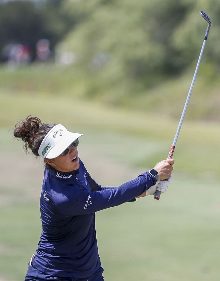 Professional golfer Emma Talley watches her shot on the 17th hole during round one of the LPGA VOA Classic on Thursday, July 1, 2021, in The Colony, Texas. Talley finished the first day at six under par. (Elias Valverde II/The Dallas Morning News)