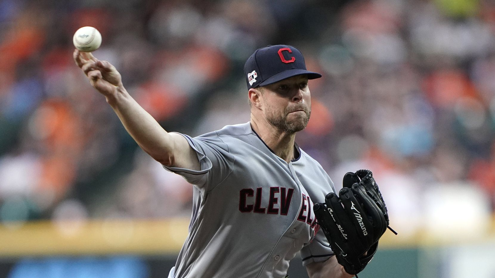 FILE - In this April 26, 2019, file photo, Cleveland Indians starting pitcher Corey Kluber throws against the Houston Astros during the first inning of a baseball game in Houston. (AP Photo/David J. Phillip, File)