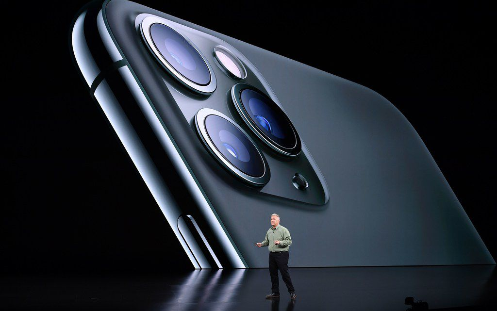 Phil Schiller speaks on-stage during a product launch event at Apple's headquarters in Cupertino, California, on September 10, 2019.