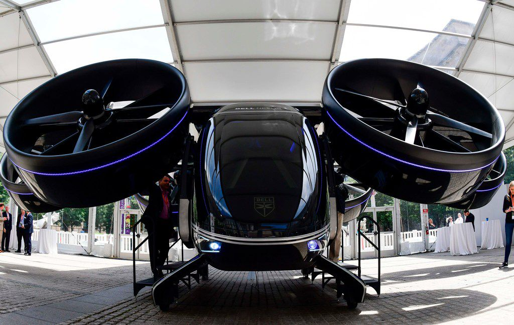 The Bell Nexus concept vehicle is shown at the Uber Elevate Summit on June 12, 2019, in Washington, D.C., one of the vertical takeoff and landing (VTOL) vehicles or flying cars that will be part of Uber's fleet for aerial ride sharing.