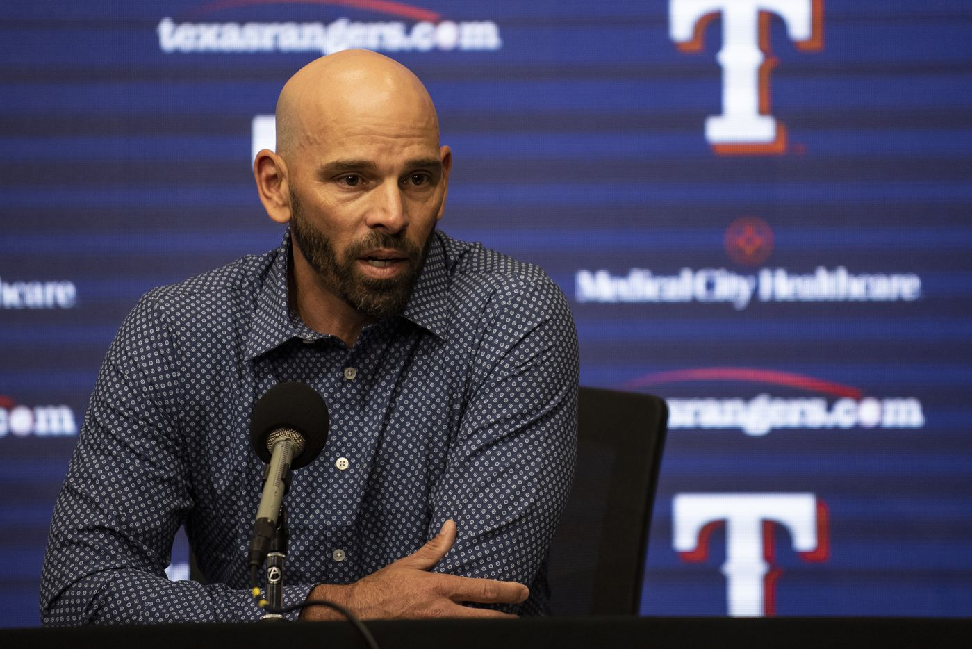 Texas Rangers Manager Chris Woodward answers questions during the Texas RangersÕ end of the year press conference at Globe Life Field on Wednesday, October 6, 2021 in Arlington, Texas. (Emil Lippe/Special Contributor)