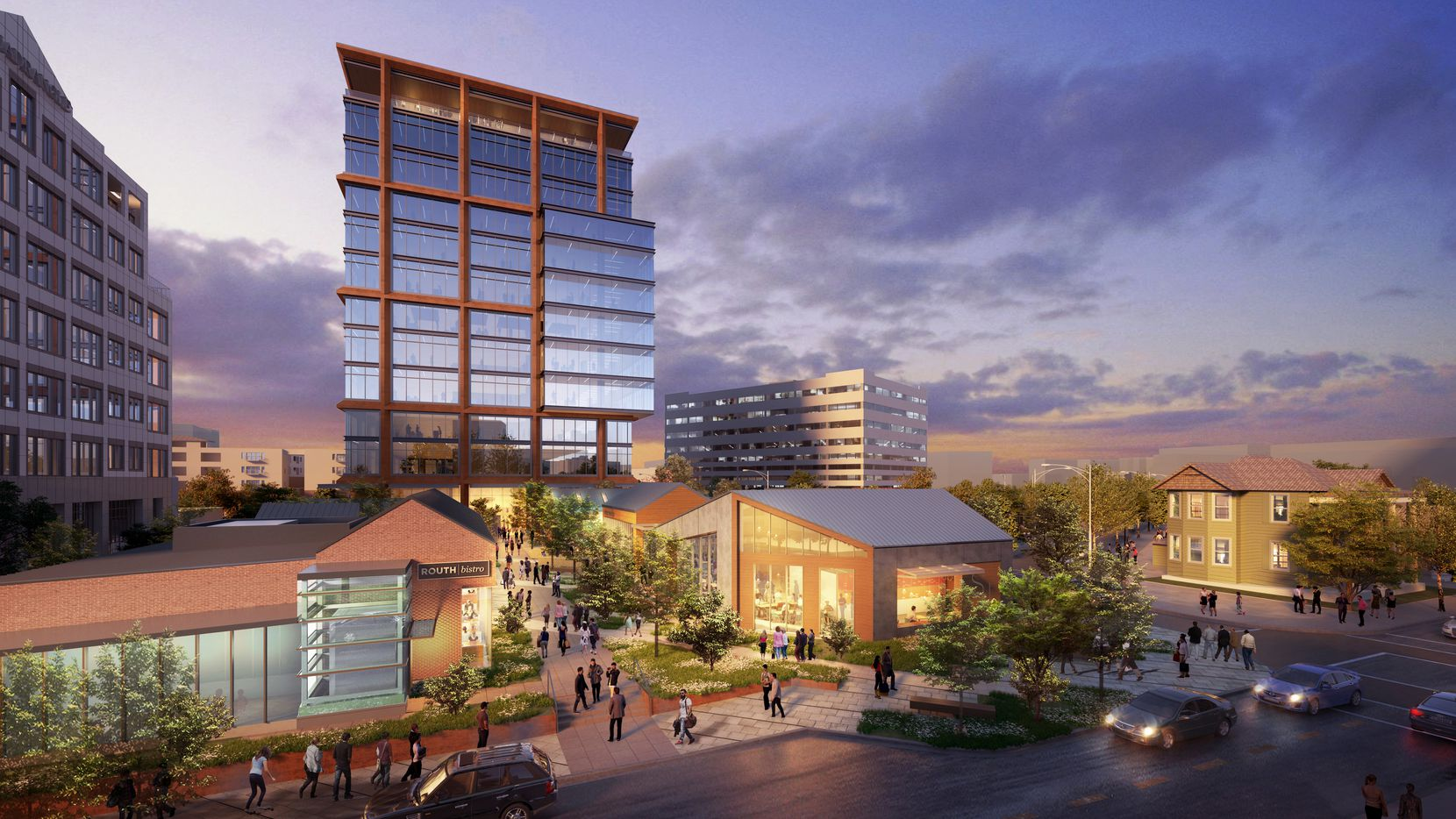 Stream Realty Partners plans to build several small retail buildings and an office tower at the Quadrangle in Dallas' Uptown district.