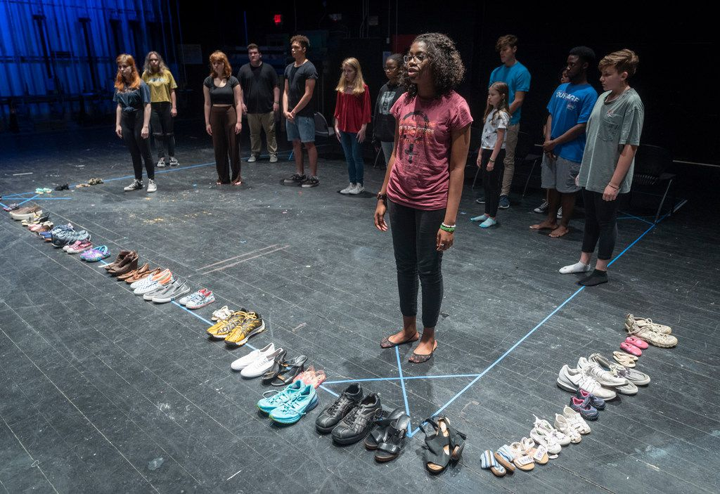 Trinity Gordon, a recent graduate of Skyline High School, performs during a rehearsal of Cry Havoc's production of Babel. The play focuses on gun violence.