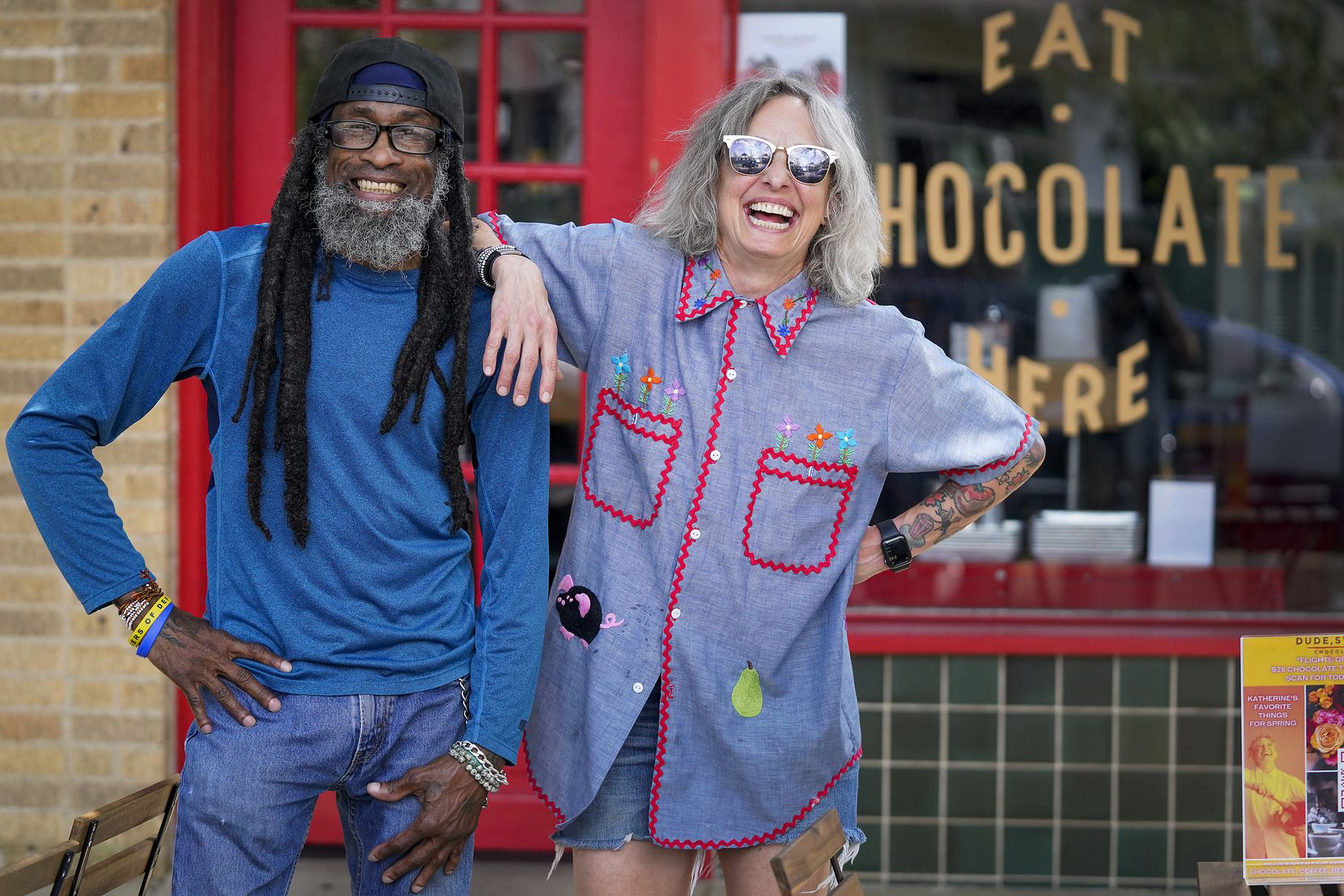 Owner Katherine Clapner (right) and manager Eddie Murphy at Dude Sweet Chocolate in Oak Cliff.