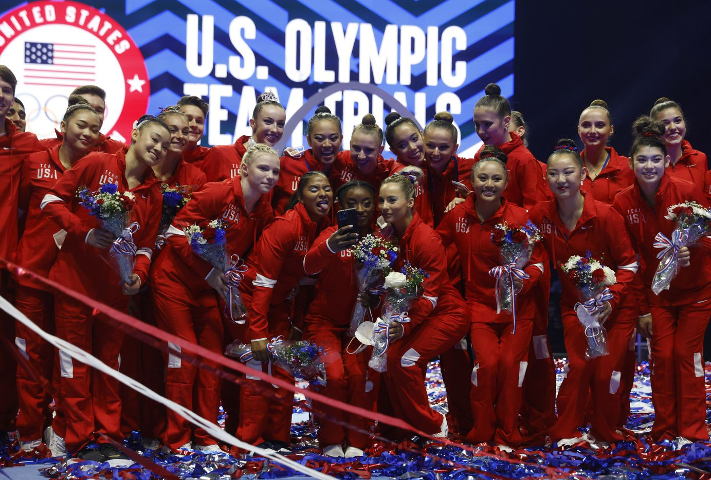 Simone Biles takes a selfie with teammates after the announcement of the U.S. Women's Olympic gymnastics team during day 2 of the women's 2021 U.S. Olympic Trials at The Dome at America's Center on Sunday, June 27, 2021 in St Louis, Missouri.(Vernon Bryant/The Dallas Morning News)