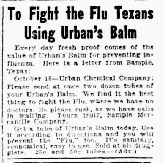 """Article from Nov. 07, 1918, """"To fight the flu Texas using Urban's Balm."""""""