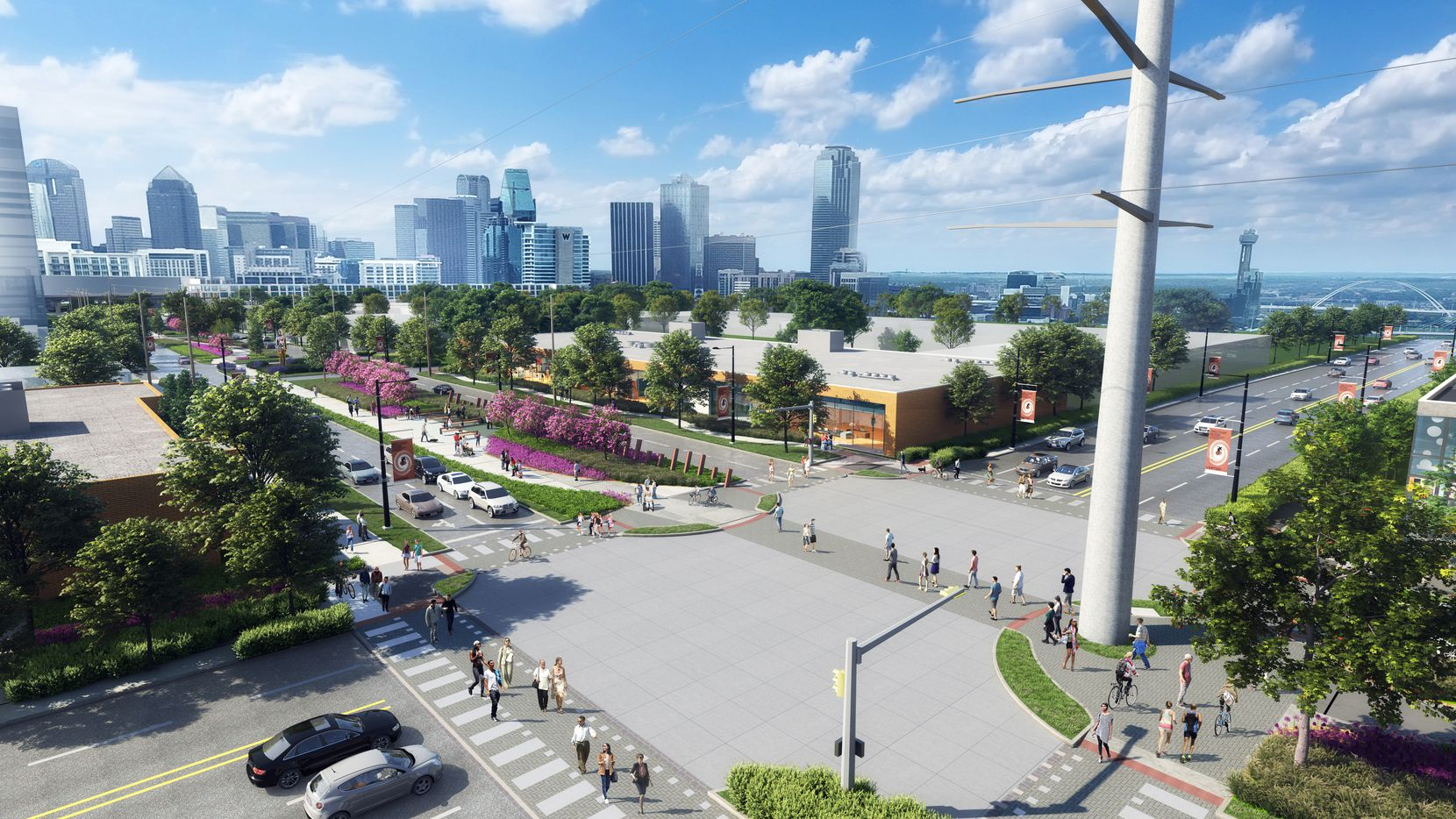 A rendering of what the intersection of Hi Line Drive and Oak Lawn Avenue will look like when The LOOP project is complete.