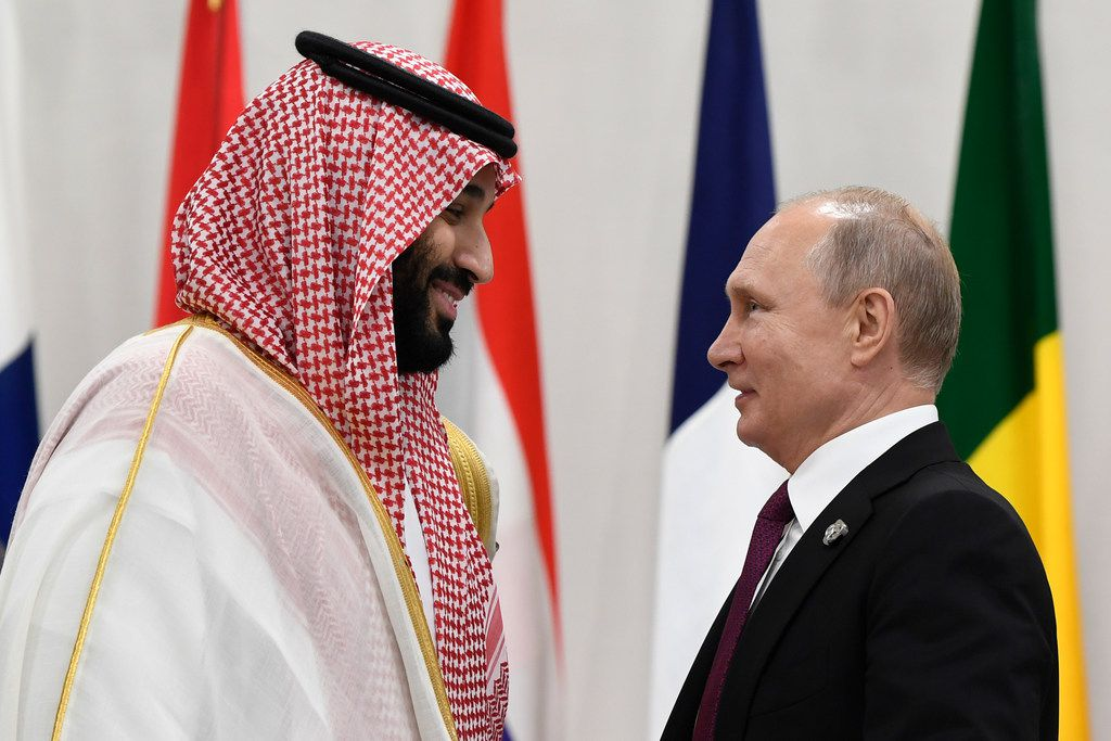 Saudi Arabia's crown prince, Mohammed bin Salman (left), talked with Russian President Vladimir Putin before the start of a G20 summit event in Osaka, Japan, on June 28.