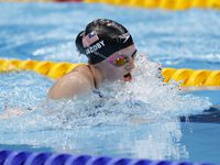 USA's Lydia Jacoby competes in the women's 100 meter breaststroke final during the postponed 2020 Tokyo Olympics at the Tokyo Aquatics Center on Monday, July 26, 2021, in Tokyo, Japan. Jacoby won with a time of 1:04.95 to take gold.