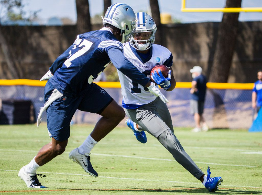Dallas Cowboys wide receiver Randall Cobb (18) gets past defensive back Donovan Wilson (37) during an afternoon practice at training camp in Oxnard, California on Sunday, July 28, 2019. (Ashley Landis/The Dallas Morning News.