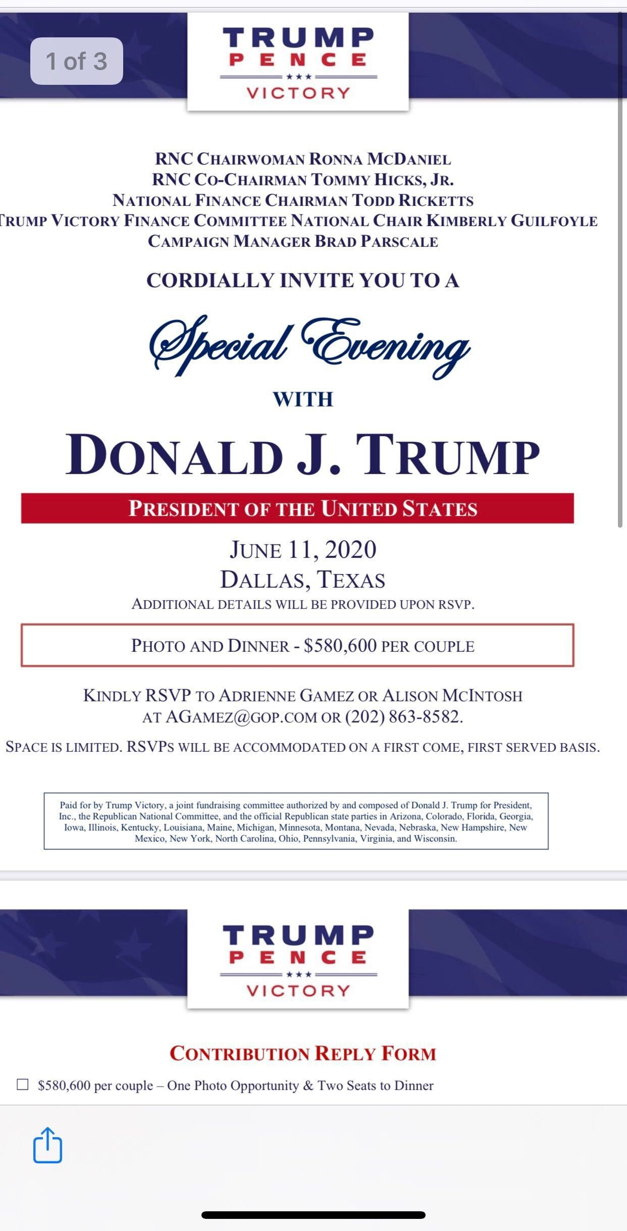 Invitation obtained by The Dallas Morning News to a Trump Victory fund-raising dinner with President Trump on June 11, 2020, in Dallas.