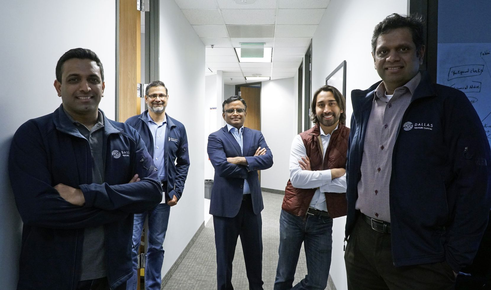 The Dallas Venture Capital team in Irving (from left): Venkat Kolli, Abidali Neemuchwala, Dayakar Puskoor, Manu Sharma and Adhavan Manickam. The firm also has an office and staff in India.