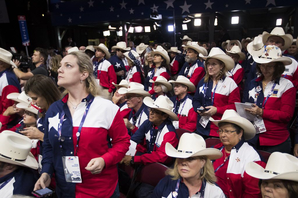 Texas delegate wait for a ruling after an effort by anti-Trump delegates to force a roll-call vote on convention rules during the opening session of the Republican National Convention on Monday, July 18, 2016, in Cleveland.  (Smiley N. Pool/The Dallas Morning News)
