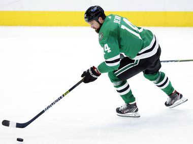 Dallas Stars left wing Jamie Benn (14) looks to score against the Carolina Hurricanes during the second period at the American Airlines Center in Dallas, Tuesday, April 27, 2021.
