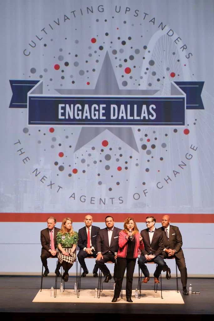 From left: Dallas mayoral candidates Mike Ablon, Lynn McBee, Miguel Solis, Jason Villalba, Regina Montoya, Scott Griggs and Albert Black at the Engage Dallas 2019 Mayoral Candidates Forum hosted by the Mayor's Star Council at the Music Hall at Fair Park on March 8