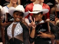 Simone Biles and Jordan Chiles pose after being named to the US National Gymnastics team following the Senior Women's competition of the U.S. Gymnastics Championships at Dickies Arena on June 06, 2021 in Fort Worth, Texas.