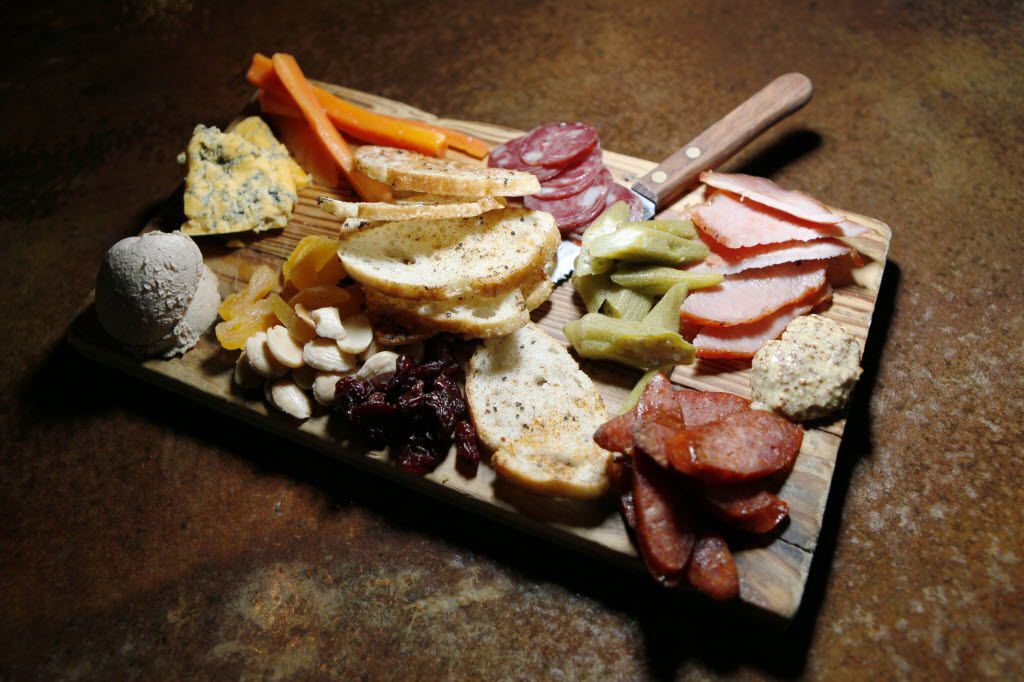 A generous charcuterie board offers lots of choices.