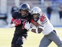 Spring Westfield running back Kendal Taylor (1) is pushed out of bounds by Guyer defensive back Deuce harmon during the second half of their 6A Div. 2 state semi-final game Saturday, Dec. 14, 2019 at the Sheldon ISD Panther Stadium in Houston, TX.