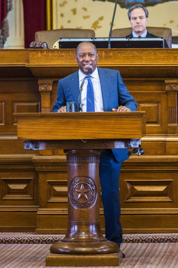 Rep. Sylvester Turner, D-Houston, announces his retirement during the final days of the 84th Texas legislature regular session on Sunday, May 31, 2015 at the Texas state capitol in Austin, Texas.   (Ashley Landis/The Dallas Morning News)