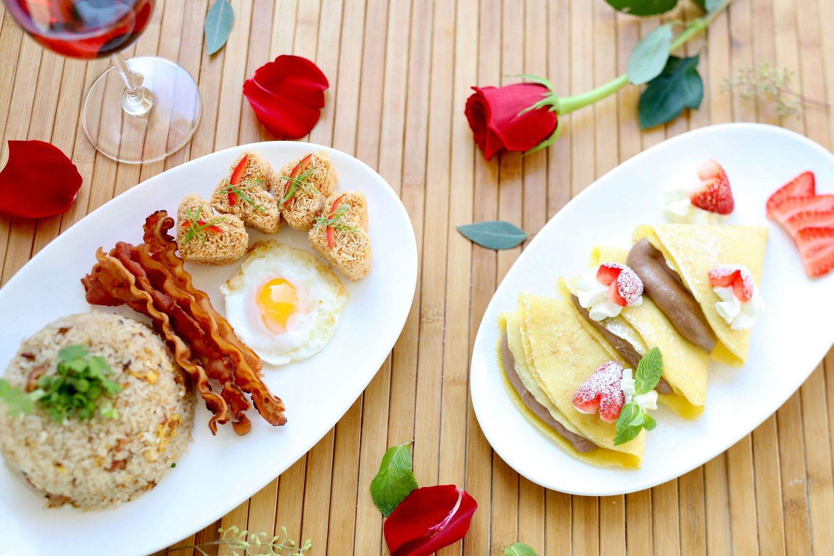 Asian Mint's takeout Valentine's Day brunch includes bacon fried rice with a Thai fried egg, mee krob (sweet crispy noodles) and chocolate mousse crepes.