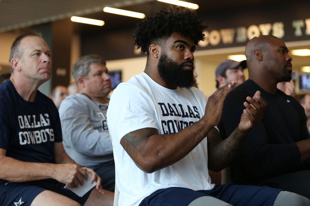 Dallas Cowboys running back Ezekiel Elliott applauds after a tribute video to Dallas Cowboys tight end Jason Witten during a news conference where Witten announced his retirement from the NFL at The Star in Frisco, Texas on Thursday, May 3, 2018. (Rose Baca/The Dallas Morning News)