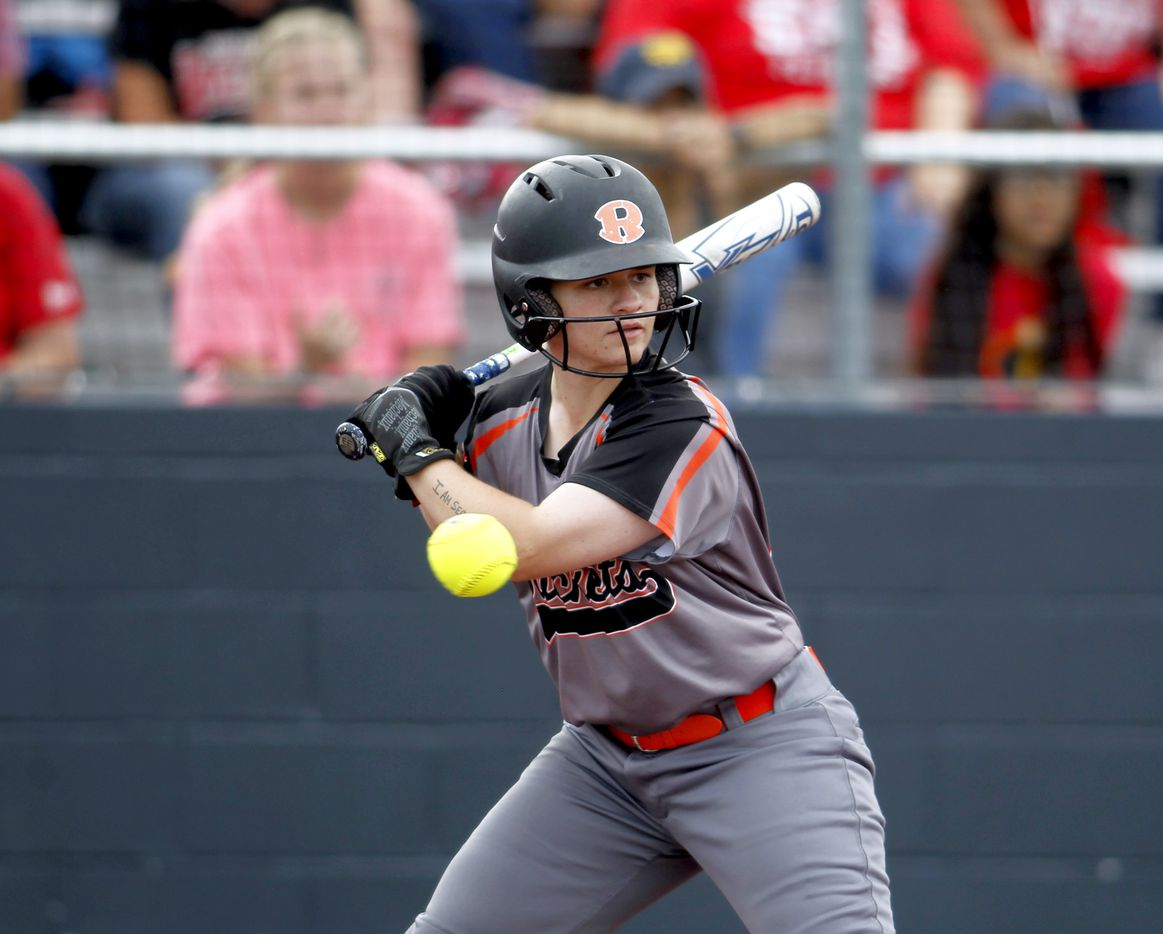 Rockwall's Ashley Monks (00) watches a pitch go by during the top of the 3rd inning against Converse Judson. The two teams played their UIL 6A state softball semifinal game at Leander Glenn High School in Leander on June 4, 2021. (Steve Hamm/ Special Contributor)
