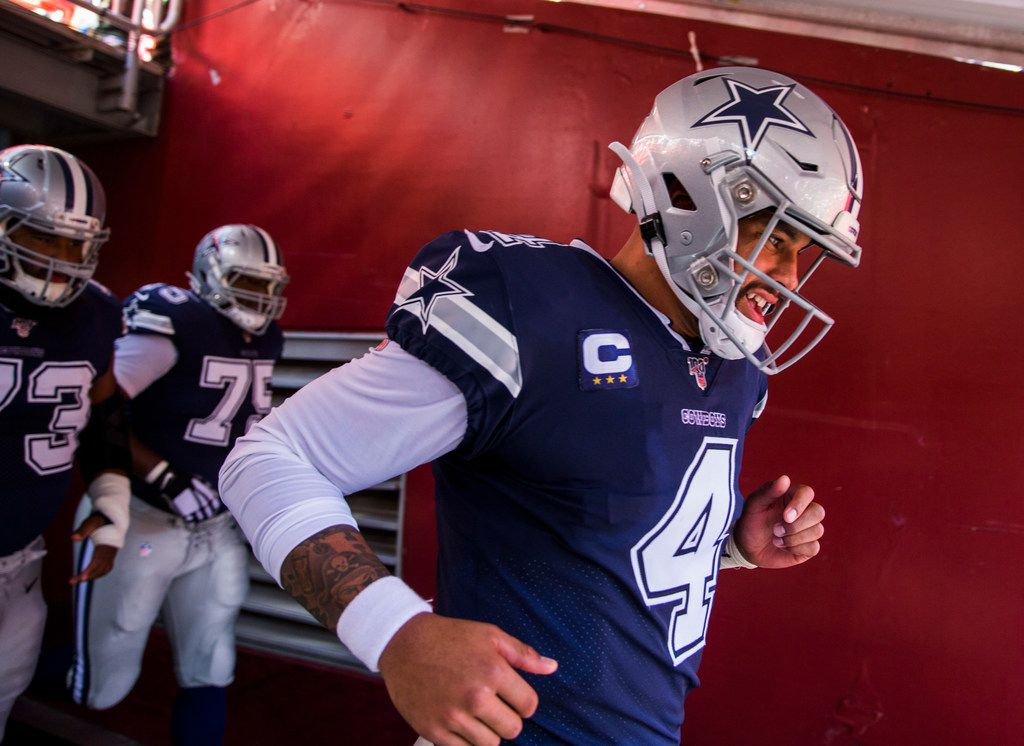 Dallas Cowboys quarterback Dak Prescott (4) runs through the tunnel before an NFL game between the Dallas Cowboys and the Washington Redskins on Sunday, September 15, 2019 at FedExField in Landover, Maryland.