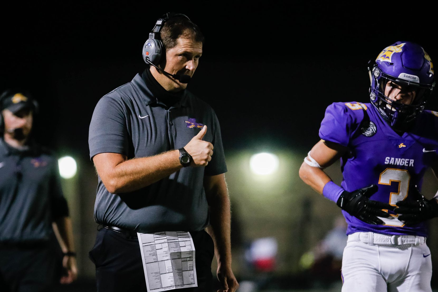 Sanger High School football head coach Rocky Smart gives a thumbs up during a game against Lake Worth High School in the second half on Sept. 4, 2020 in Sanger. Sanger won 49-35. (Juan Figueroa/ The Dallas Morning News)