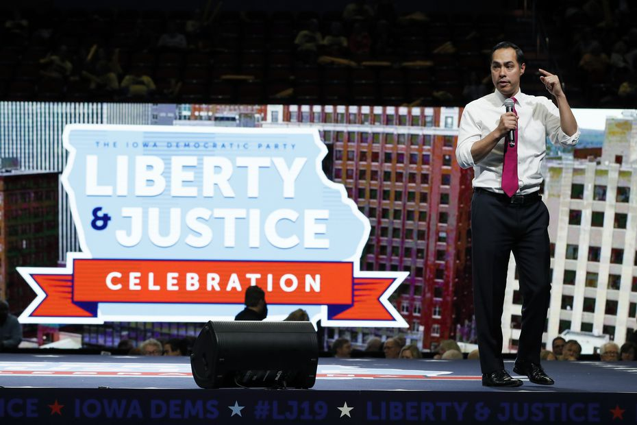 Former housing secretary Julián Castro speaks during the Iowa Democratic Party's Liberty and Justice Celebration on Nov. 1, 2019, in Des Moines.